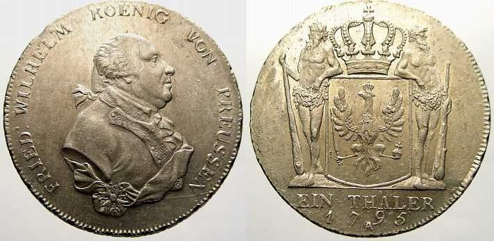 Taler 1795 A Brandenburg-Preußen Friedrich Wilhelm II. 1786-1797. Vorzüglich+ mit Prägeglanz!