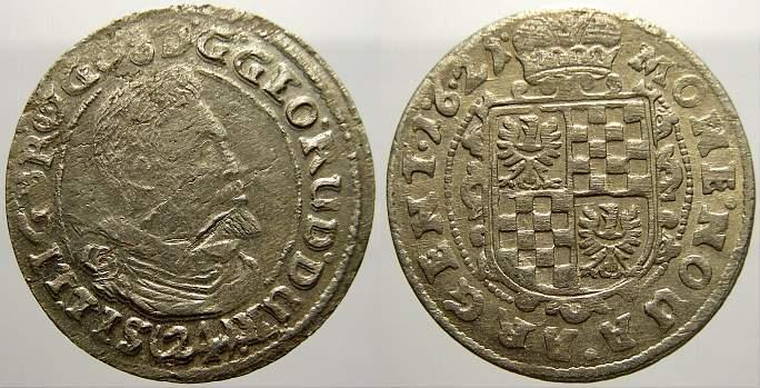 24 Kipperkreuzer 1621 Schlesien-Liegnitz-Brieg Georg Rudolf 1602-1653. Übl. Schrötlingsfehler, sehr schön-vorzüglich mit Prägeglanz!