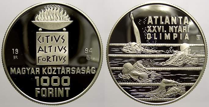 1000 Forint 1994 Ungarn Republik seit 1989. Polierte Platte