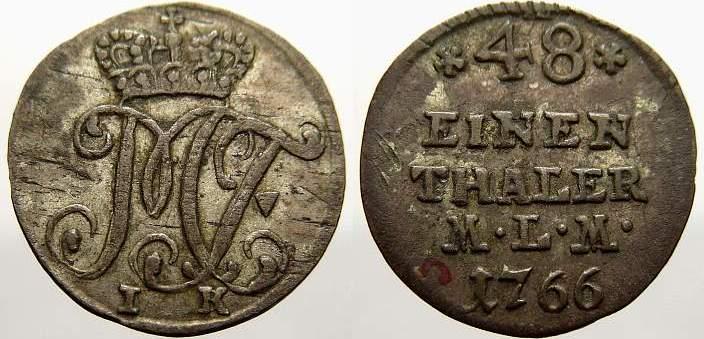 1/48 Taler 1766 IK Münster, Bistum Maximilian Friedrich von Königsegg-Rothenfels 1762-1784. Sehr schön+
