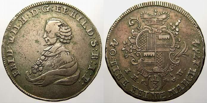 1/3 Taler 1764 Hildesheim, Bistum Friedrich Wilhelm von Westfalen 1763-1789. Selten. Sehr schön+ mit schöner Patina