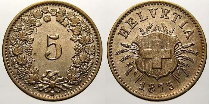 5 Rappen 1873 B Schweiz, Eidgenossenschaft Prägefrisch