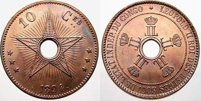 Cu 10 Centimes 1894 Kongo-Belgisch Kongo Prägefrisch