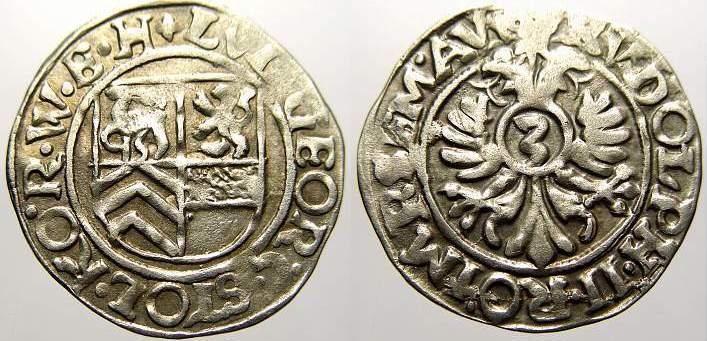 3 Kreuzer 1572-1618 Stolberg-Stolberg Ludwig Georg 1572-1618. Sehr schön