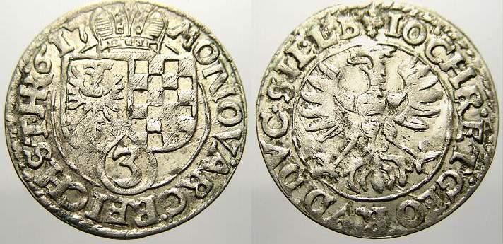 3 Kreuzer 1617 Schlesien-Liegnitz-Brieg Johann Christian und Georg Rudolf 1602-1621. Fast vorzüglich mit Prägeglanz!