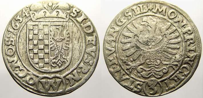 3 Kreuzer 1634 Schlesien-Der oberste Lehnsherr Die evangelischen Stände. Sehr schön