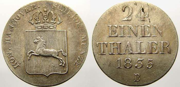 1/24 Taler 1835 B Braunschweig-Calenberg-Hannover Wilhelm IV. 1830-1837. Sehr schön-vorzüglich