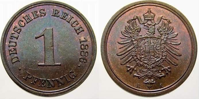 1 Pfennig 1886 A Kleinmünzen Fast stempelglanz-stempelglanz