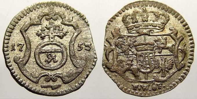 Pfennig 1753 FW Sachsen-Albertinische Linie Friedrich August II. 1733-1763, als August III. König von Polen und Großherzog von Litauen. Kl. Zainende. Fast vorzüglich