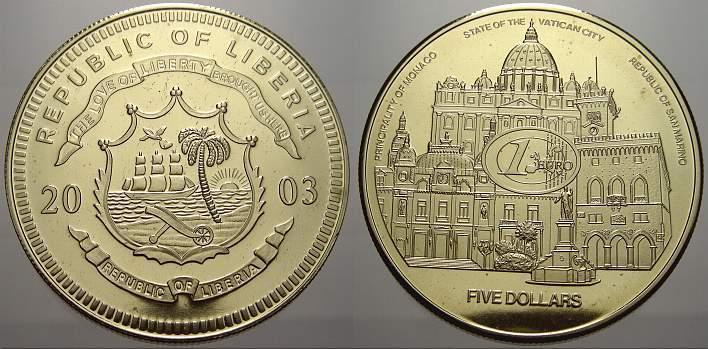 5 Dollars 2003 Liberia Liberia Republik seit 1847. Stempelglanz