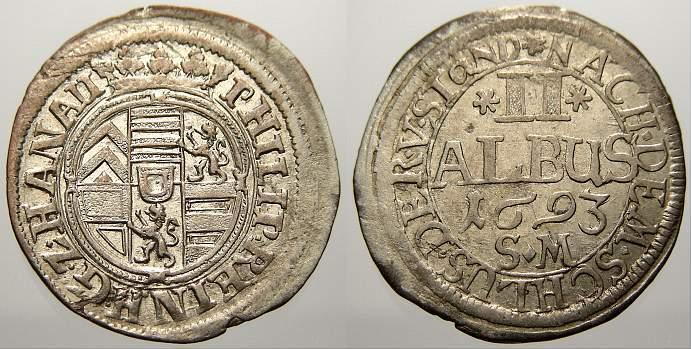 2 Albus 1693 Hanau-Lichtenberg Philipp Reinhard 1675-1712. Sehr schön-vorzüglich