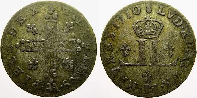 30 Deniers aux 2L couronnés 1 1710 AA Frankreich Ludwig XIV. 1643-1715. Sehr schön