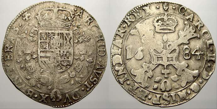 1/2 Patagon 1684 Belgien-Brabant Karl II. 1665-1700. Selten. Sehr schön