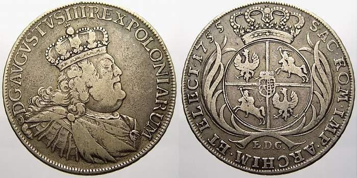 Bancotaler 1755 Sachsen-Albertinische Linie Friedrich August II. 1733-1763, als August III. König von Polen und Großherzog von Litauen. Sehr schön