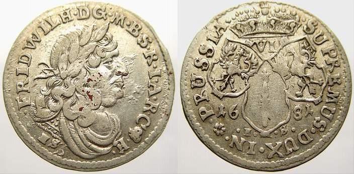 Zwitter 6 Gröscher 1 1681 HS Brandenburg-Preußen Friedrich Wilhelm, der Große Kurfürst 1640-1688. Sehr selten. Sehr schön-vorzüglich