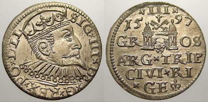 3 Gröscher 1 1597 Riga, Stadt Sigismund III. 1587-1632. Stempelglanz