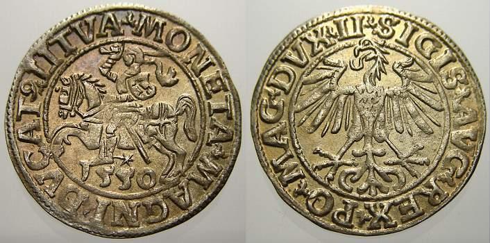 Halbgroschen 1550 Polen-Litauen Sigismund August 1544-1572. Stempelglanz mit schöner Patina