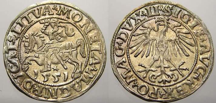 Halbgroschen 1551 Polen-Litauen Sigismund August 1544-1572. Seltener Jahrgang. Stempelglanz mit schöner Patina