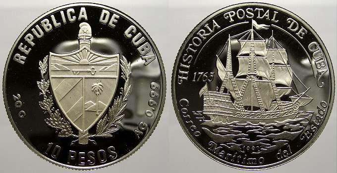 10 Pesos 1992 Kuba Polierte Platte