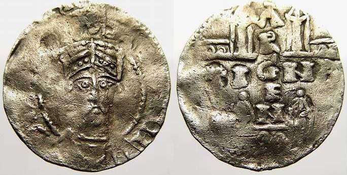 Denar 1002-1024 Straßburg, königliche Münzstätte Heinrich II. 1002-1024. Kl. Prägeschwäche. Sehr schön