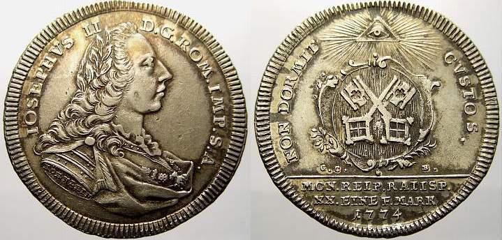1/2 Konventionstaler 1774 Regensburg, Stadt Kl. Schrötlingsfehler am Rand. Fast vorzüglich