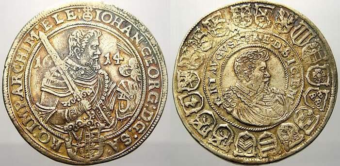 Reichstaler 1614 Sachsen-Albertinische Linie Johann Georg I. und August 1611-1615. Sehr schön-vorzüglich mit schöner Patina
