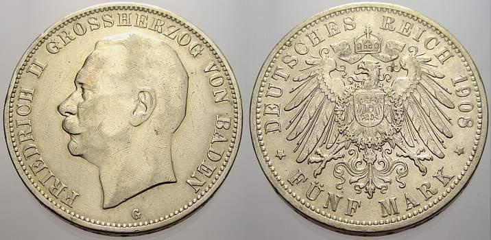 5 Mark 1908 G Baden Friedrich II. 1907-1918. Kleiner Randfehler, sehr schön