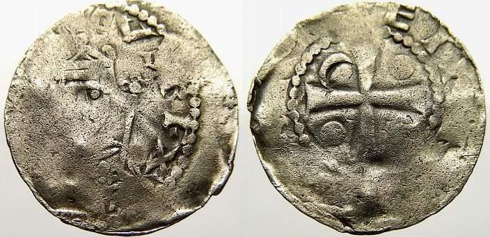 Pfennig 1039-1056 Worms, königliche und kaiserliche Münzstätte Heinrich III. 1039-1056. Leicht dezentriert, fast sehr schön