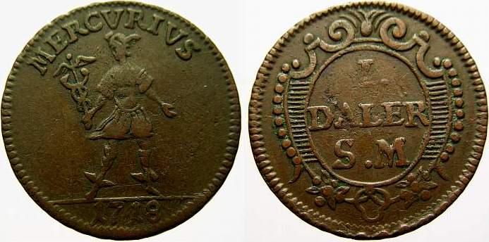 1 Daler Silvermynt 1718 Schweden Karl XII. 1697-1718. Sehr schön