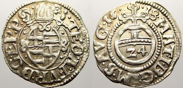 Kipper-Reichsgroschen (1/24 Taler) 1618 Paderborn, Bistum Theodor von Fürstenberg 1585-1618. Seltene Münze und Erhaltung. Vorzüglich mit Prägeglanz!