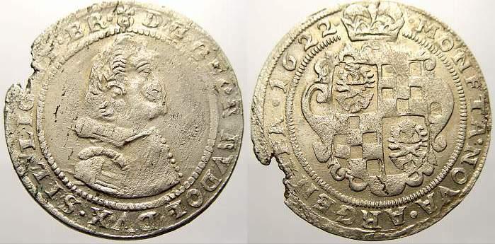 1/4 Taler (24 Kipperkreuzer) 1622 Schlesien-Liegnitz-Brieg Georg Rudolf 1602-1653. Schrötlingsfehler am Rand. Sehr schön-vorzüglich mit Prägeglanz!
