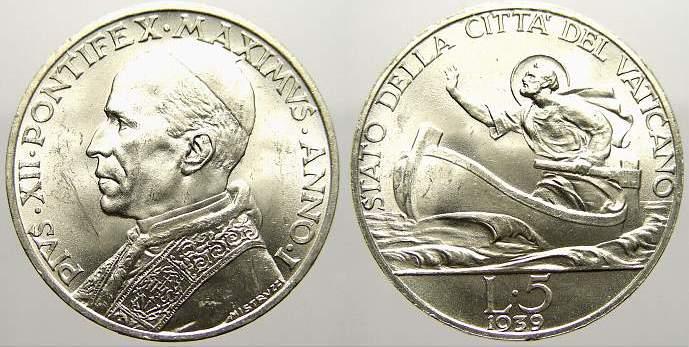 5 Lire 1939 Italien-Kirchenstaat Pius XII. 1939-1958. Stempelglanz