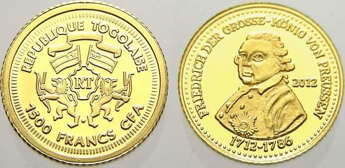 1500 Francs 2012 Togo Republik seit 1960. Polierte Platte