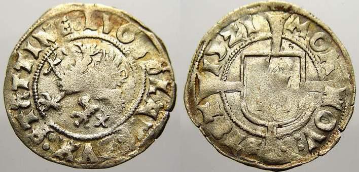 Witten (1/2 Schilling) 1521 Pommern-Stettin Bogislaw X. 1474-1523. Min. Prägeschwäche. Sehr schön+ mit Prägeglanz!