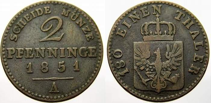 Cu 2 Pfennig 1851 A Brandenburg-Preußen Friedrich Wilhelm IV. 1840-1861. Sehr schön