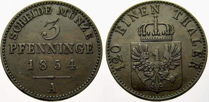 Cu 3 Pfennig 1854 A Brandenburg-Preußen Friedrich Wilhelm IV. 1840-1861. Seltener Jahrgang. Sehr schön+