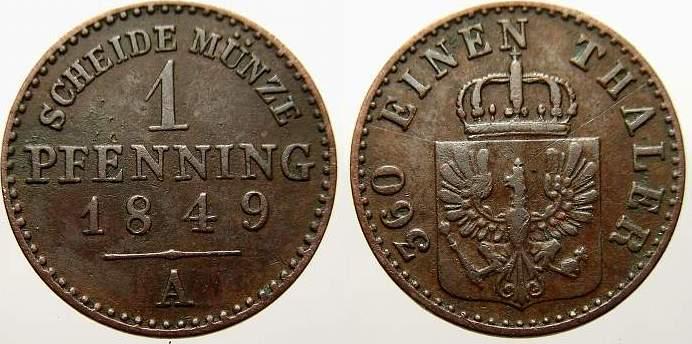 Cu Pfennig 1849 A Brandenburg-Preußen Friedrich Wilhelm IV. 1840-1861. Sehr schön+