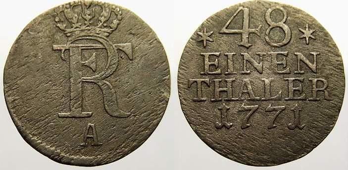 1/48 Taler 1771 A Brandenburg-Preußen Friedrich II. 1740-1786. Sehr schön
