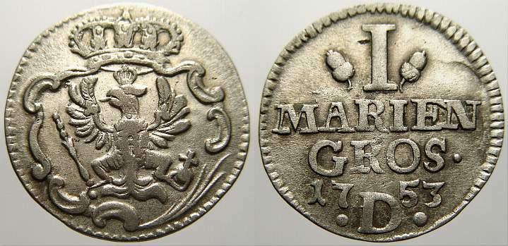 Mariengroschen 1753 D Brandenburg-Preußen Friedrich II. 1740-1786. Sehr schön+