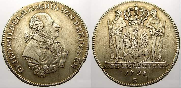 2/3 Taler 1794 S Brandenburg-Preußen Friedrich Wilhelm II. 1786-1797. Überdurchschnittlich erhalten. Sehr schön-vorzüglich
