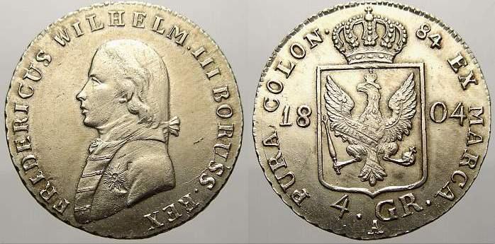 4 Groschen (1/6 Taler) 1804 A Brandenburg-Preußen Friedrich Wilhelm III. 1797-1840. Winz. justiert. Stempelglanz