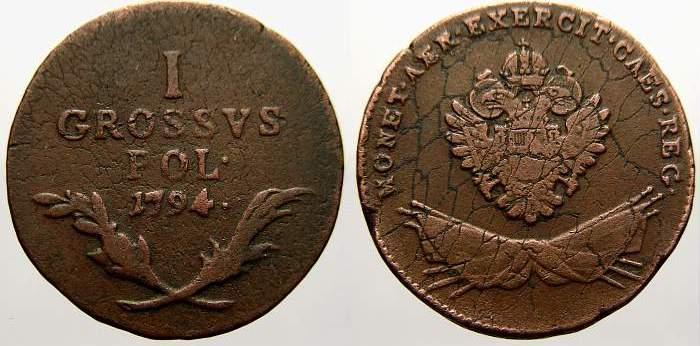 Cu Groschen 1794 F Polen Österreichische Prägungen für Galizien 1772-1795. Kl. Schrötlingsfehler. Sehr schön