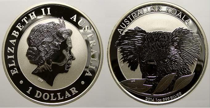 1 Dollar 2014 Australien Elizabeth II. seit 1952. Stempelglanz