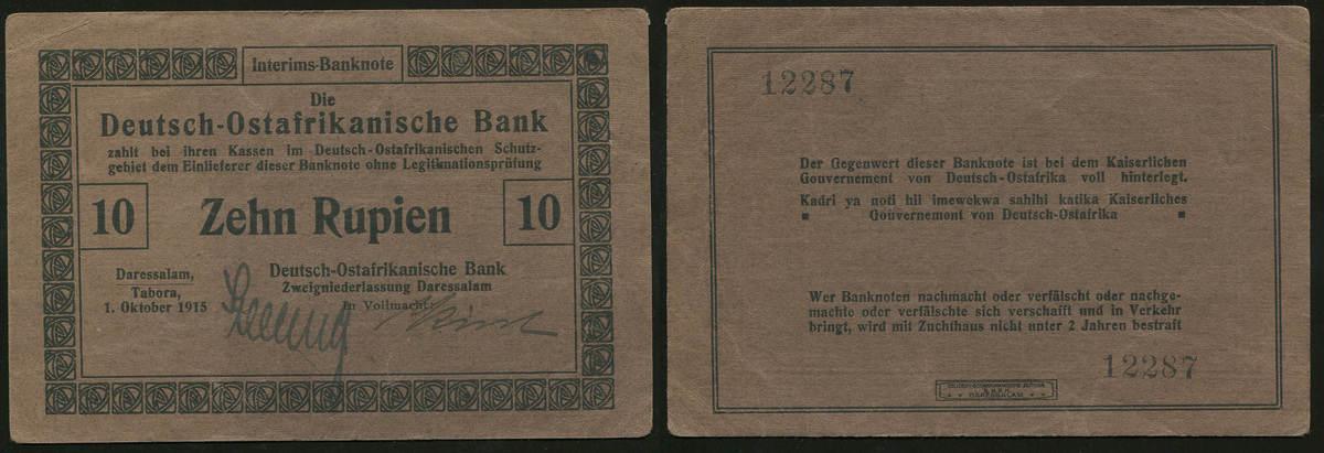 10 Rupien 1.10.1915 Die Deutschen Banknoten ab 1871 Deutsch-Ostafrika 1915-1918. II