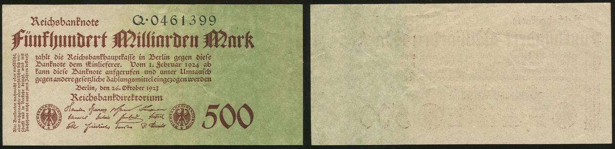 500 Mrd. Mark Reichsbanknote 26.10.1923 Die Deutschen Banknoten ab 1871 Geldscheine der Inflation 1919-1924. I