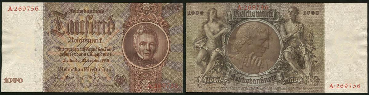 1000 Reichsmark 22.02.1936 Die Deutschen Banknoten ab 1871 Deutsche Reichsbank 1924-1945. I-