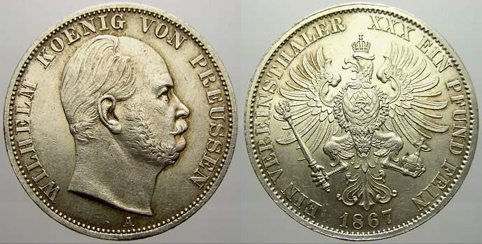 Vereinstaler 1867 A Brandenburg-Preußen Wilhelm I. 1861-1888. Vorzüglich-stempelglanz