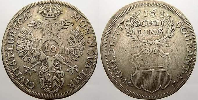 16 Schilling 1737 Lübeck, Stadt Sehr schön+