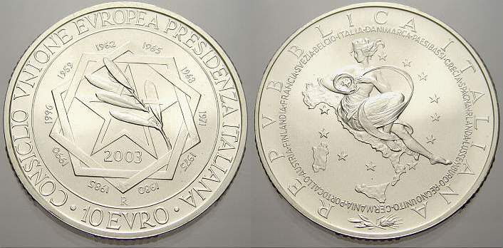 10 Euro 2003 Italien Stempelglanz