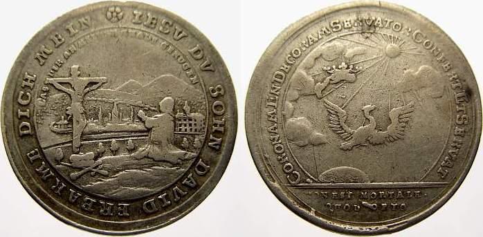 Silberabschlag des Doppeldukaten 1729-1745 Sachsen-Coburg-Saalfeld Christian Ernst und Franz Josias 1729-1745. Sehr schön
